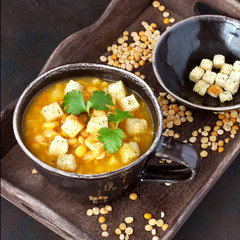 Bowl of bean soup with parsley