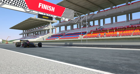 Racing Car Crossing Finish Line On Racing Track - High Quality 3D Rendering With Environment