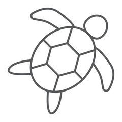 Sea turtle thin line icon, animal and underwater, aquatic sign vector graphics, a linear pattern on a white background, eps 10.