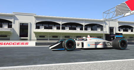White Racing Car Crossing Finish Line On Racing Track - High Quality 3D Rendering With Environment