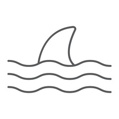 Shark thn line icon, animal and underwater, aquatic sign vector graphics, a linear pattern on a white background, eps 10.