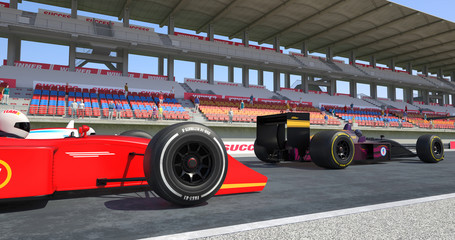 Racing Cars Crossing Finish Line On Racing Track - High Quality 3D Rendering With Environment