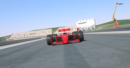 Red Racing Car Crossing Finish Line And Winning The Race - High Quality 3D Rendering With Environment