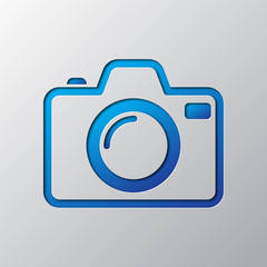Photo Camera is cut from paper. Vector illustration