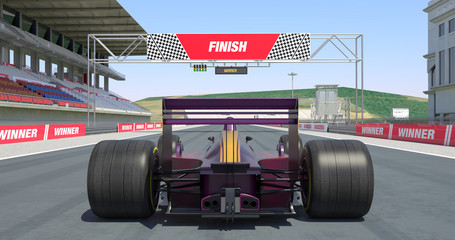 Racing Car Crossing Finish Line And Winning The Race - High Quality 3D Rendering