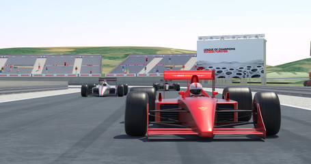 Racing Cars Getting Ready For Racing - High Quality 3D Rendering With Environment