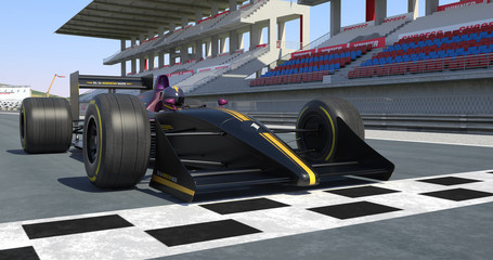 Racing Car Getting Ready For Racing - High Quality 3D Rendering With Environment