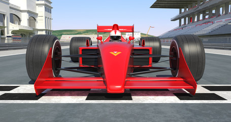 Red Racing Car Getting Ready For Racing - High Quality 3D Rendering With Environment