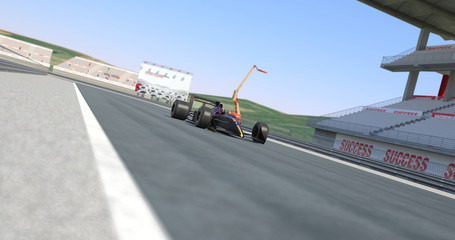 Racing Car Winning The Race - High Quality 3D Rendering With Camera Depth Of Field