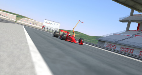 Red Racing Car Winning The Race - High Quality 3D Rendering With Camera Depth Of Field