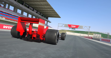 Red Formula Car Crossing Finish Line And Winning The Race - High Quality 3D Rendering With Environment