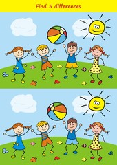 Board game for kids, find five differences. Vector Image.
