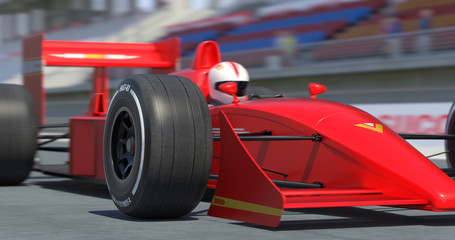 Close Up Red Racing Car Getting Ready For Racing With Depth Of Field - High Quality 3D Rendering With Environment