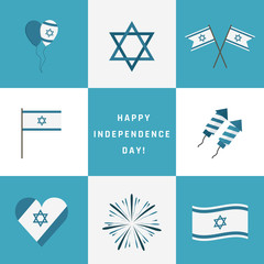 Israel Independence Day holiday flat design icons set with text in english