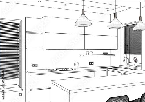 3d Vector Illustration Modern Kitchen Design In Home Interior