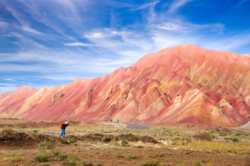 The most beautiful colorful mountain and spectacular blue sky in Tabriz Iran.Similar colourful mountains in China and Peru.