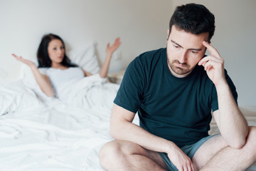 Sad and thoughtful man after arguing with girlfriend