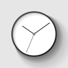 Simple wall Clock in realistic style, minimalistic timer on gray background. Business watch. Vector design element for you project