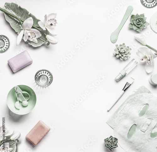 Green Cosmetic setting for facial skin care with white orchid ...