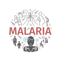 Malaria line icon banner. Infographics. Symptoms, Vector signs for web graphics.