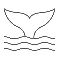 Whale tail thin line icon, animal and underwater, aquatic sign vector graphics, a linear pattern on a white background, eps 10.