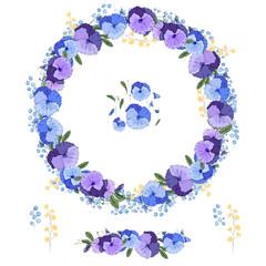 Round garland with spring flowers viola. Decorative season floral frame for festive design