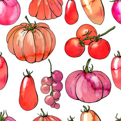 Seamless pattern with various sorts of tomato. Endless texture with watercolor effect.