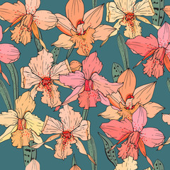 Seamless pattern with orchid flowers. Endless texture for season design