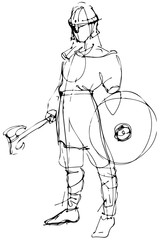 sketch medieval warrior in armor with ax and shield.