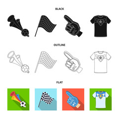 Pipe, uniform and other attributes of the fans.Fans set collection icons in black,flat,outline style vector symbol stock illustration web.