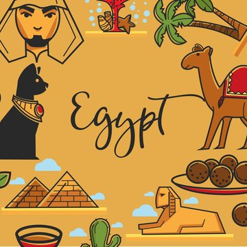 Egypt symbols vector poster of Egyptian travel landmarks and famous sightseeing attractions