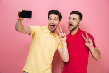 Portrait of a happy gay couple taking a selfie