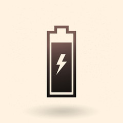 Vector Single Black Silhouette Icon of Battery Charging