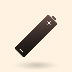 Vector Single Black Silhouette AA Battery Icon