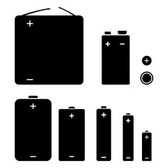 Vector Set of Silhouette Icons of Different Types Batteries