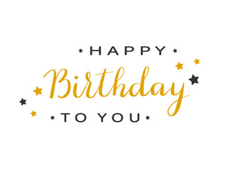 Text Happy Birthday with stars