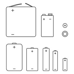 Vector Set of Outline Icons of Different Types Batteries