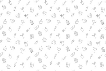 Vector drink pattern. Drink seamless background