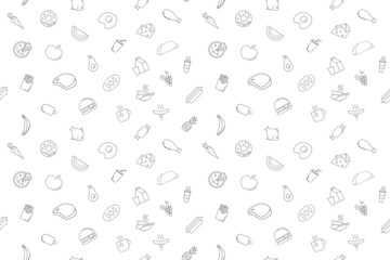 Vector food and drink pattern.Food and drink seamless background