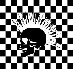 Punk skull on the black and white background