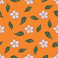 floral pattern on orange