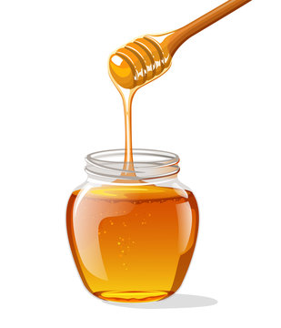 Glass jar of honey with wooden spoon