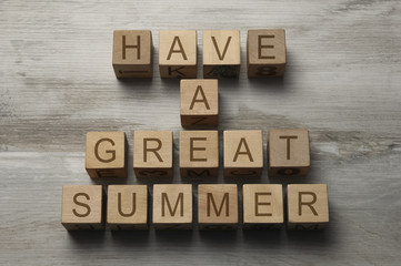 have a great summer text on wooden cubes