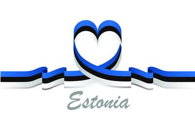 estonia flag and love ribbon