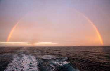 Rainbow over Atlantic ocean after heavy storm