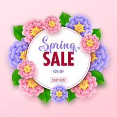 Floral spring sale banner with beautiful flowers for online shopping. Vector Illustration