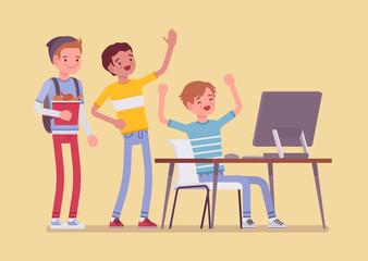 Teens fun at computer