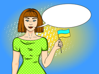 Pop art Happy young girl with the Ukrainian flag, looking at the camera. Comic style imitation Text bubble.
