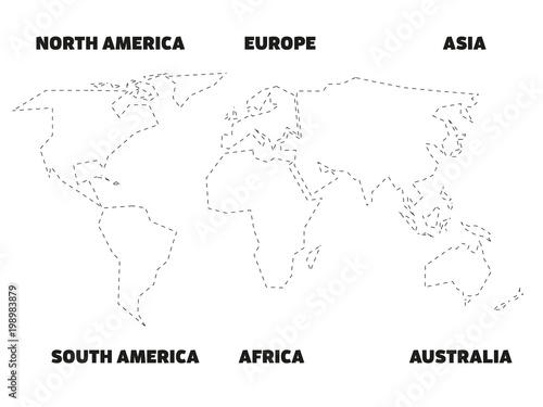 Simplified black outline of world map divided to six continents with simplified black outline of world map divided to six continents with labels simple flat vector gumiabroncs Gallery