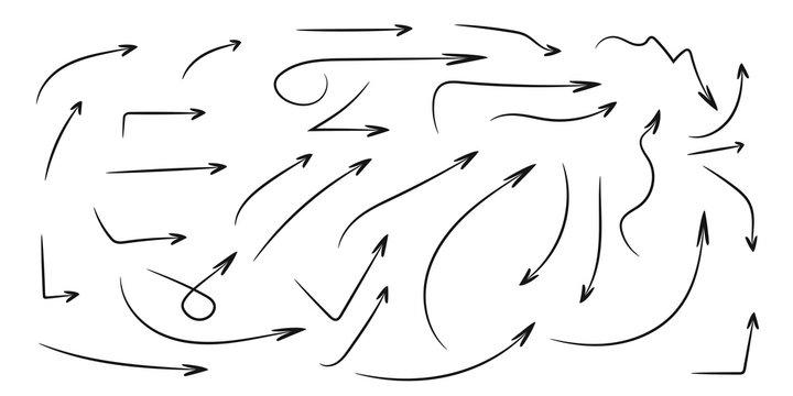 Set of hand draw arrows, Vector elegant pointers.